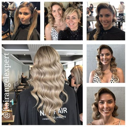 Photo of client before after results by Sydney hairdresser Deb Bradshaw; stylist business owner at Hair Angel salon in Balmain, formerly Rozelle; specialists colourists with platinum blonde balayage colouring and colour correction.